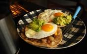 Egg and Guacamole Tostada
