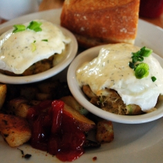 Cape Code benny -- made with crab cakes -- at the Sea Street Cafe.
