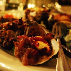 Baked oyster sampler at The Naked Oyster