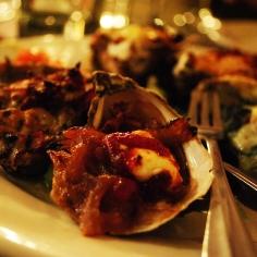 Baked oyster sampler at The Naked Oyster