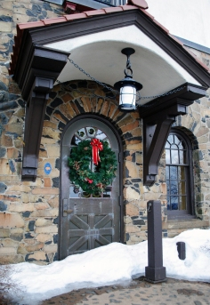 Heublein Tower, still decorated for Christmas